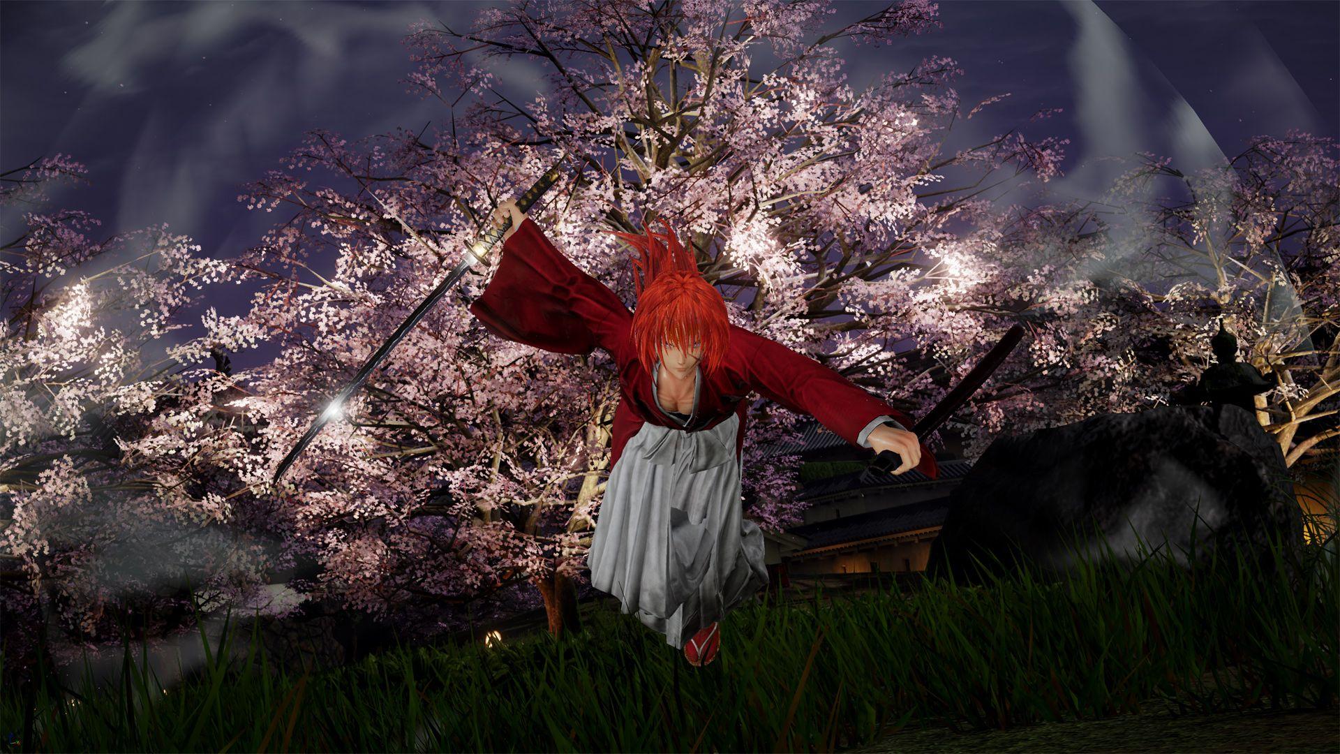 Un screenshot montrant Kenshin fonçant vers la caméra sabre en main, avec un cerisier en fleurs dans le dos.