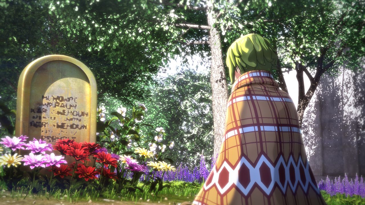 Jeanne paying her respects at the Graveyard