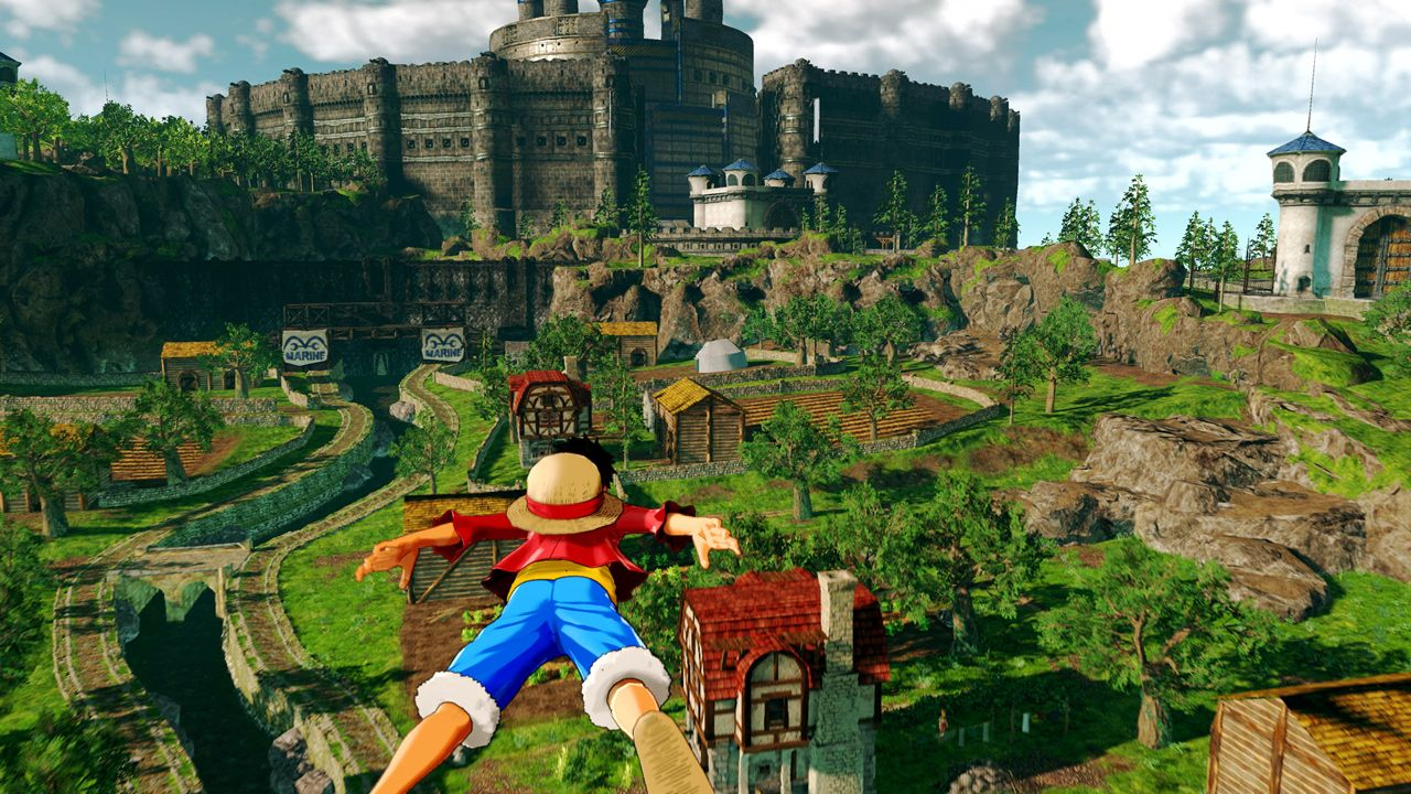 Luffy gliding over Ruby Village with Prison Tower – Tourmaline in the background
